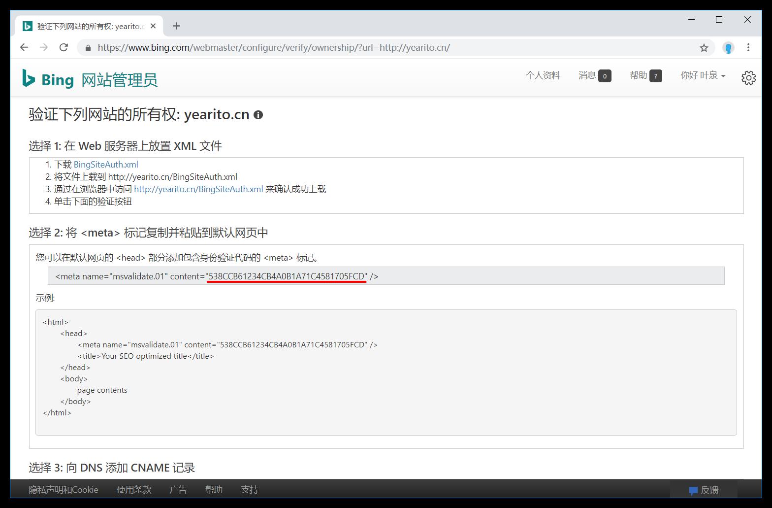 Bing 选择验证方式