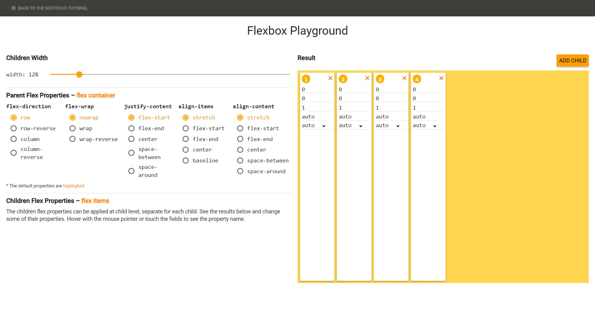 Flexbox Playground